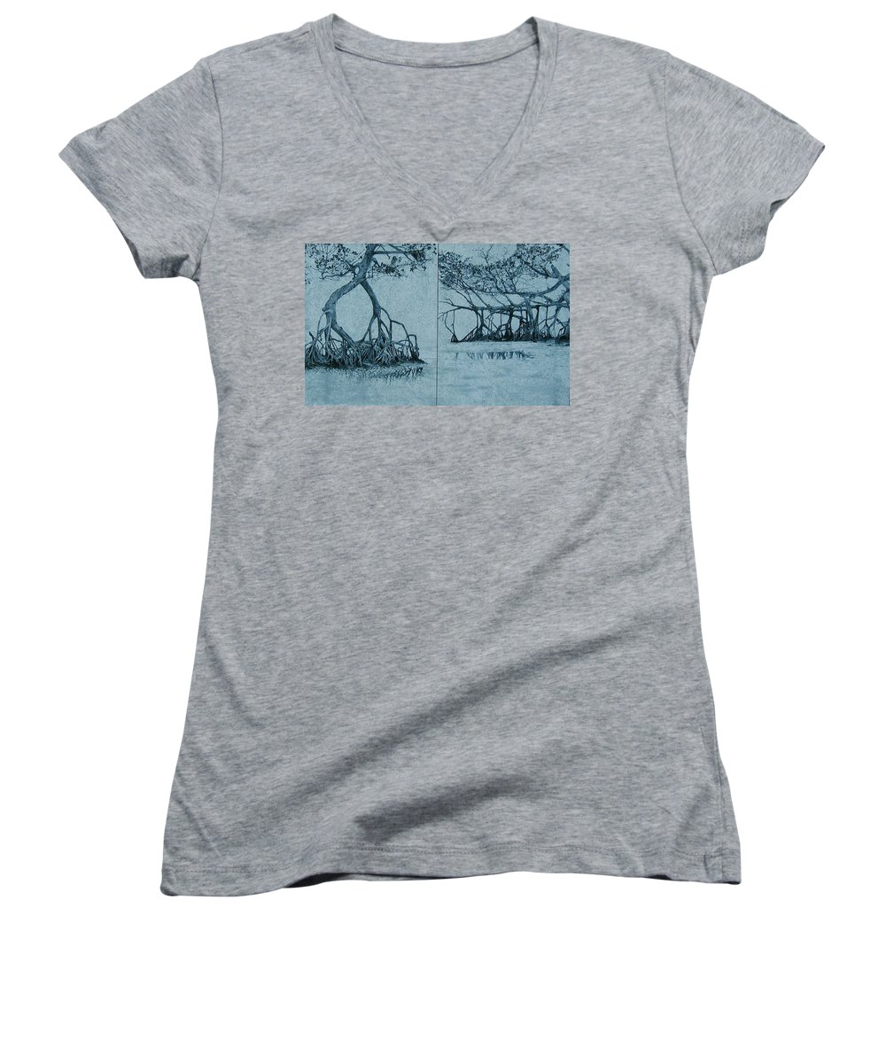 Blue Women's V-Neck T-Shirt featuring the painting Mangroves by Leah Tomaino