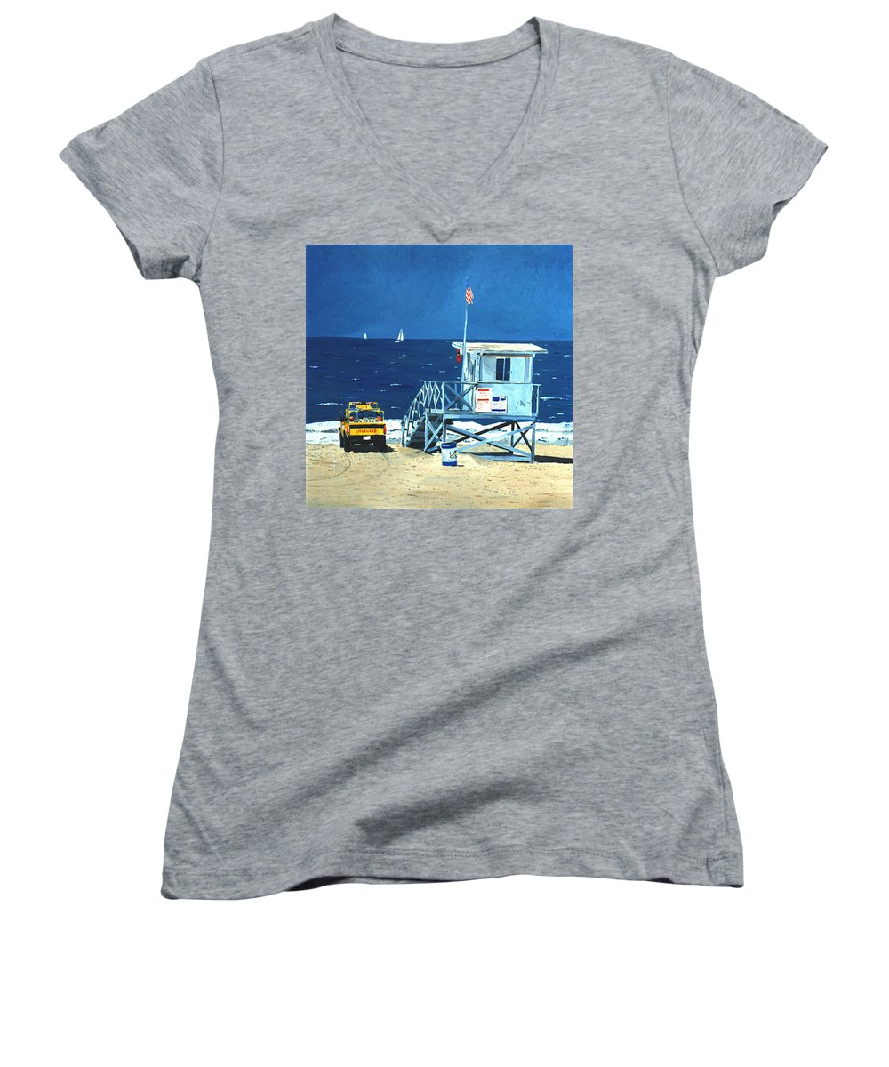 Modern Women's V-Neck (Athletic Fit) featuring the painting Manhattan Beach Lifeguard Station by Lance Headlee