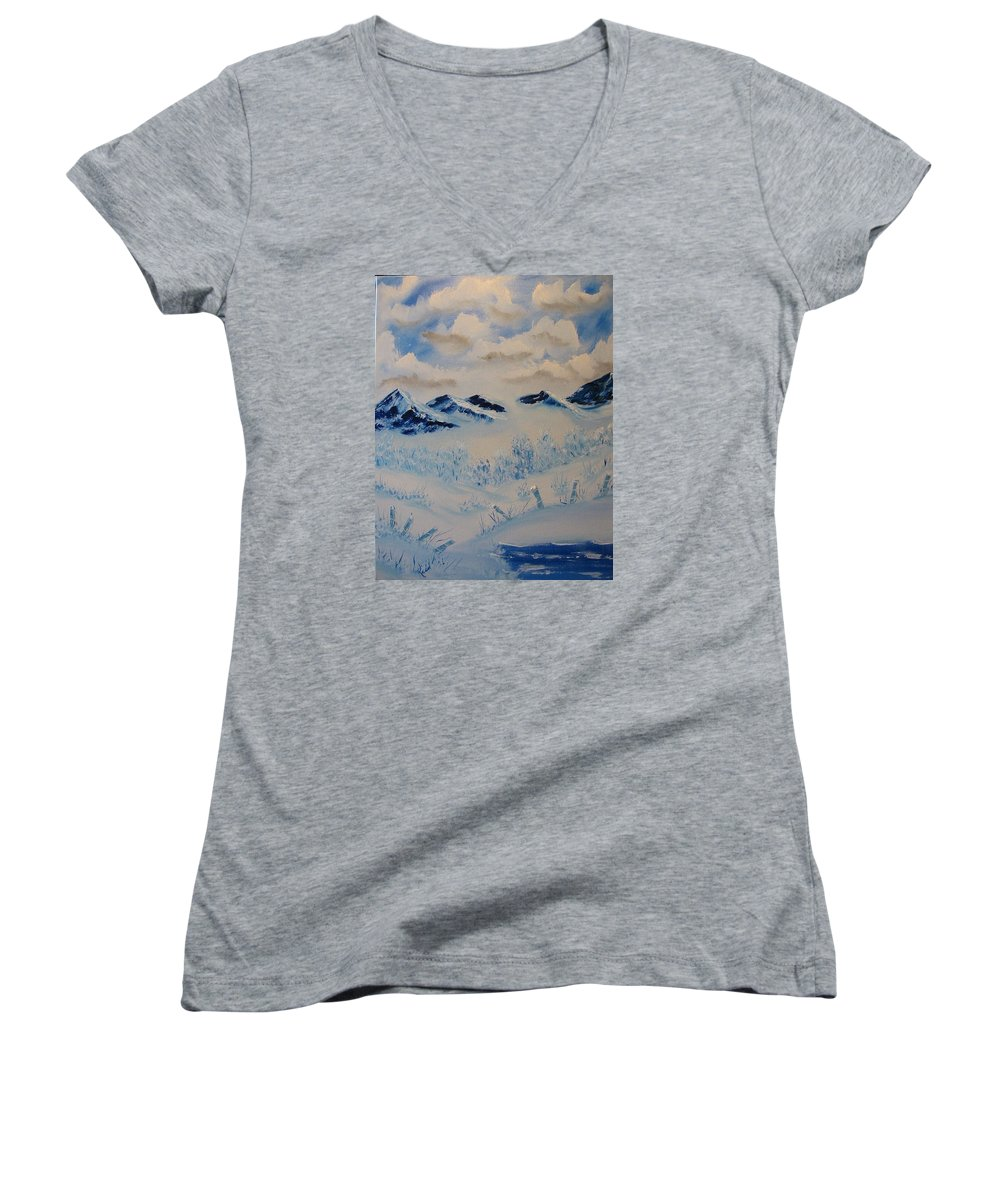 Blue Women's V-Neck (Athletic Fit) featuring the painting Many Valleys by Laurie Kidd
