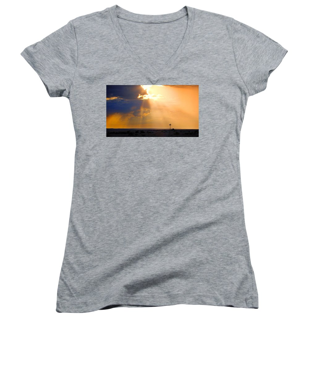 Skip Hunt Women's V-Neck (Athletic Fit) featuring the photograph Marfa Windmill 1 by Skip Hunt