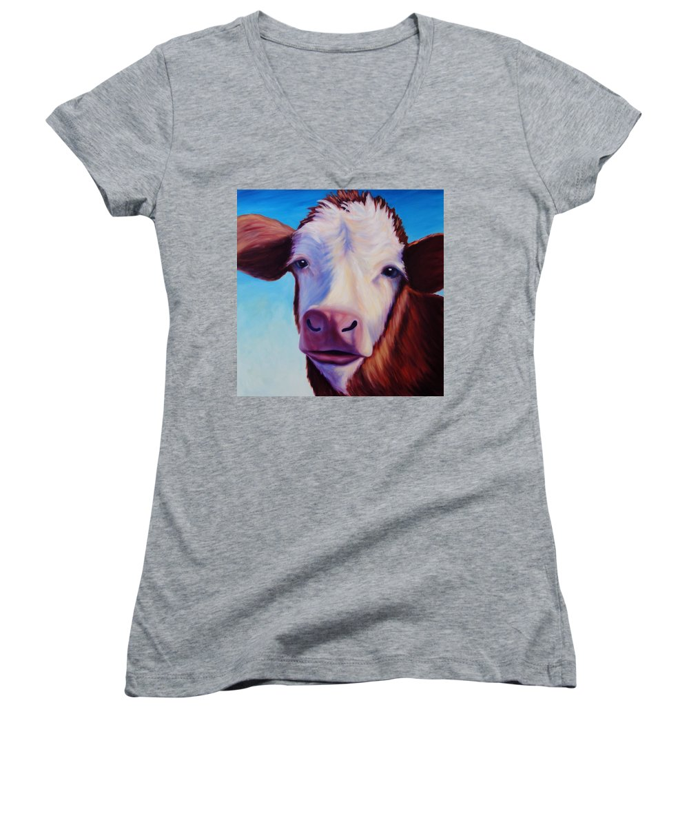 Cow Women's V-Neck T-Shirt featuring the painting Marie by Shannon Grissom