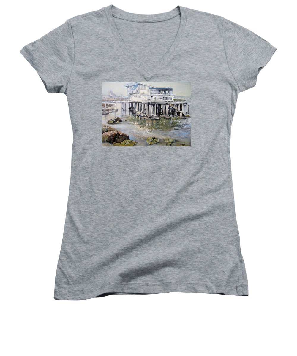 Maritim Women's V-Neck T-Shirt featuring the painting Maritim Club Castro Urdiales by Tomas Castano