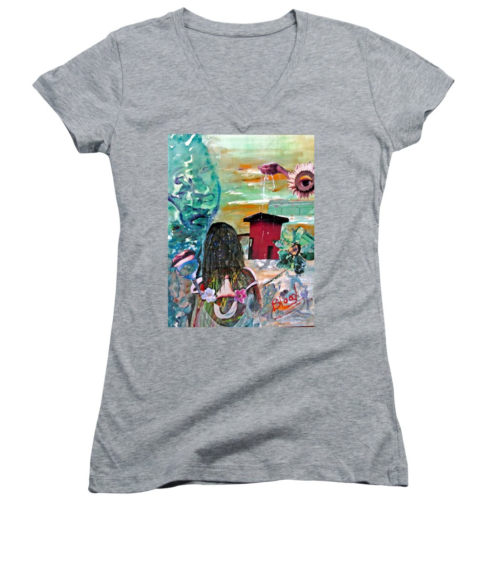 Water Women's V-Neck T-Shirt featuring the painting Masks Of Life by Peggy Blood