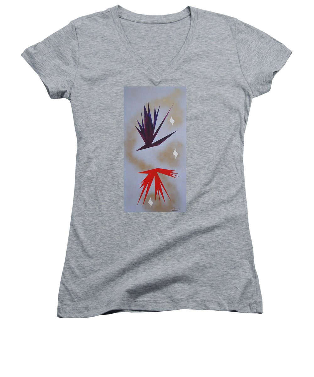Birds Women's V-Neck T-Shirt featuring the painting Mating Ritual by J R Seymour