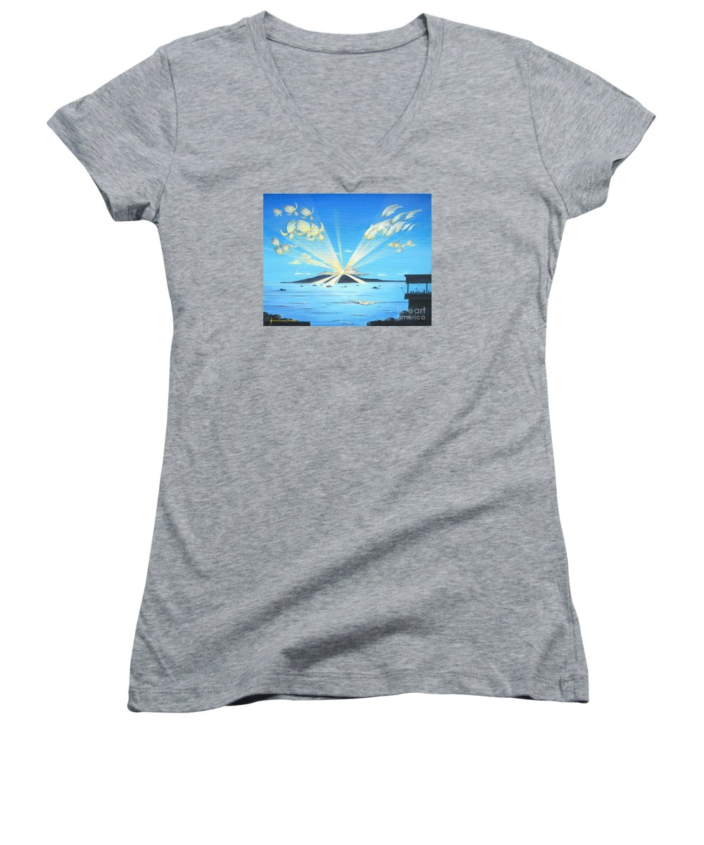 Maui Women's V-Neck (Athletic Fit) featuring the painting Maui Magic by Jerome Stumphauzer