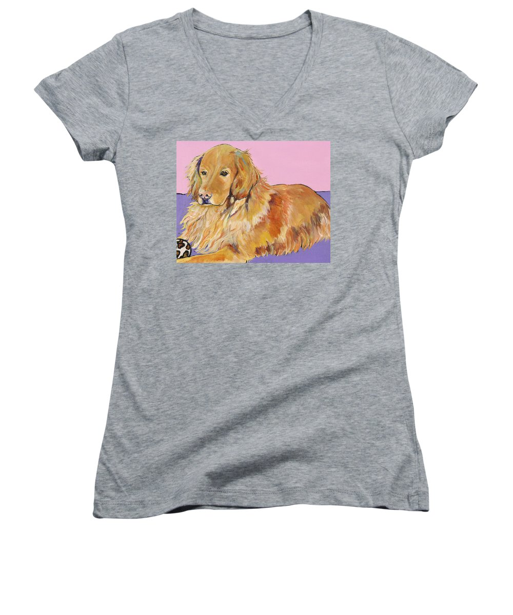 Golden Retriever Women's V-Neck T-Shirt featuring the painting Maya by Pat Saunders-White