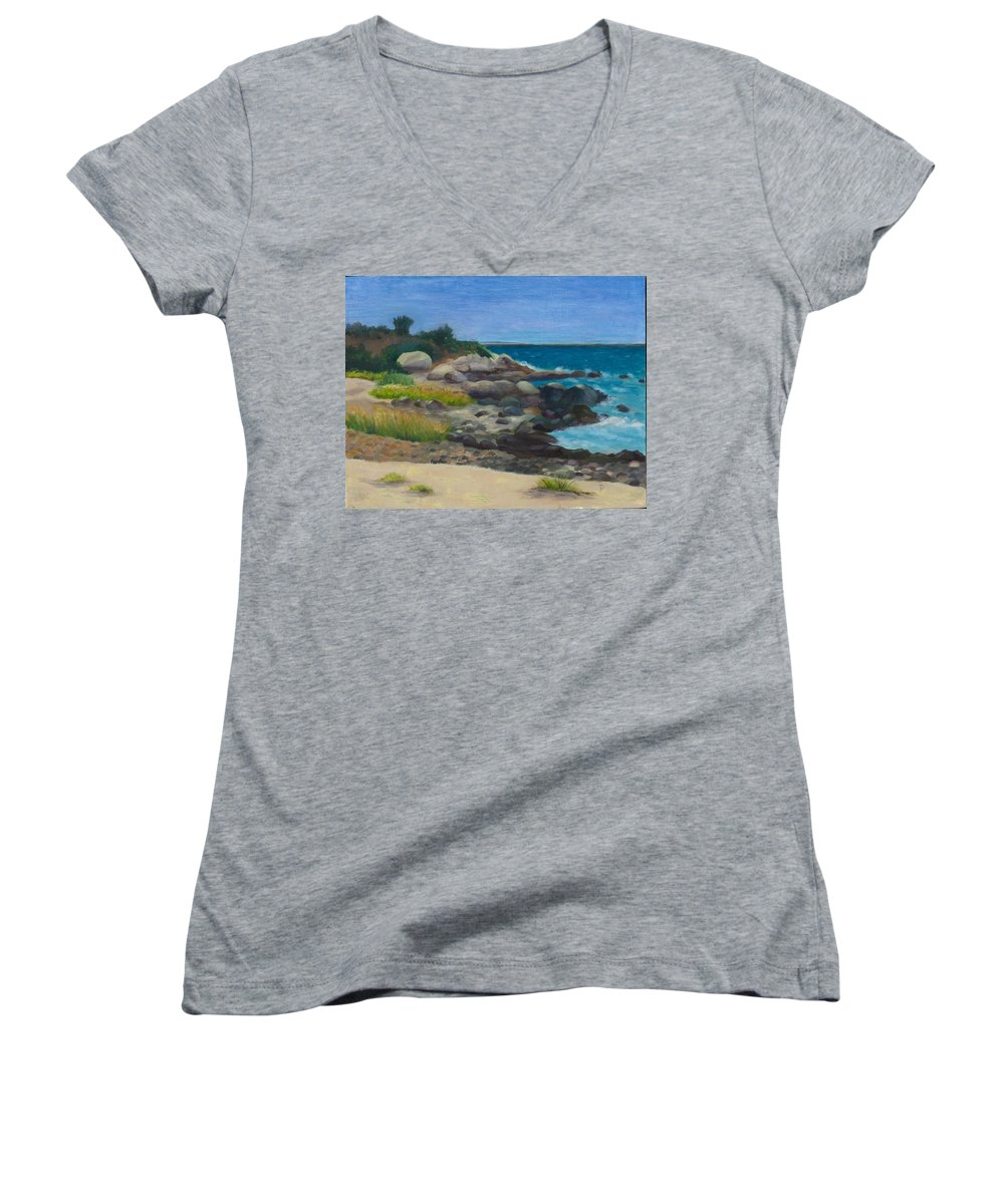 Landscape Women's V-Neck T-Shirt featuring the painting Meigs Point by Paula Emery