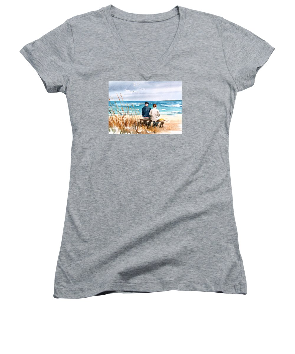 Couple On Beach Women's V-Neck T-Shirt featuring the painting Memories by Art Scholz