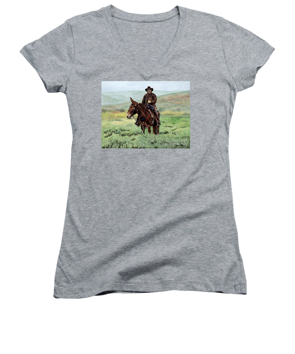 Usa Women's V-Neck T-Shirt featuring the painting Memories Of Molly by Mary Rogers