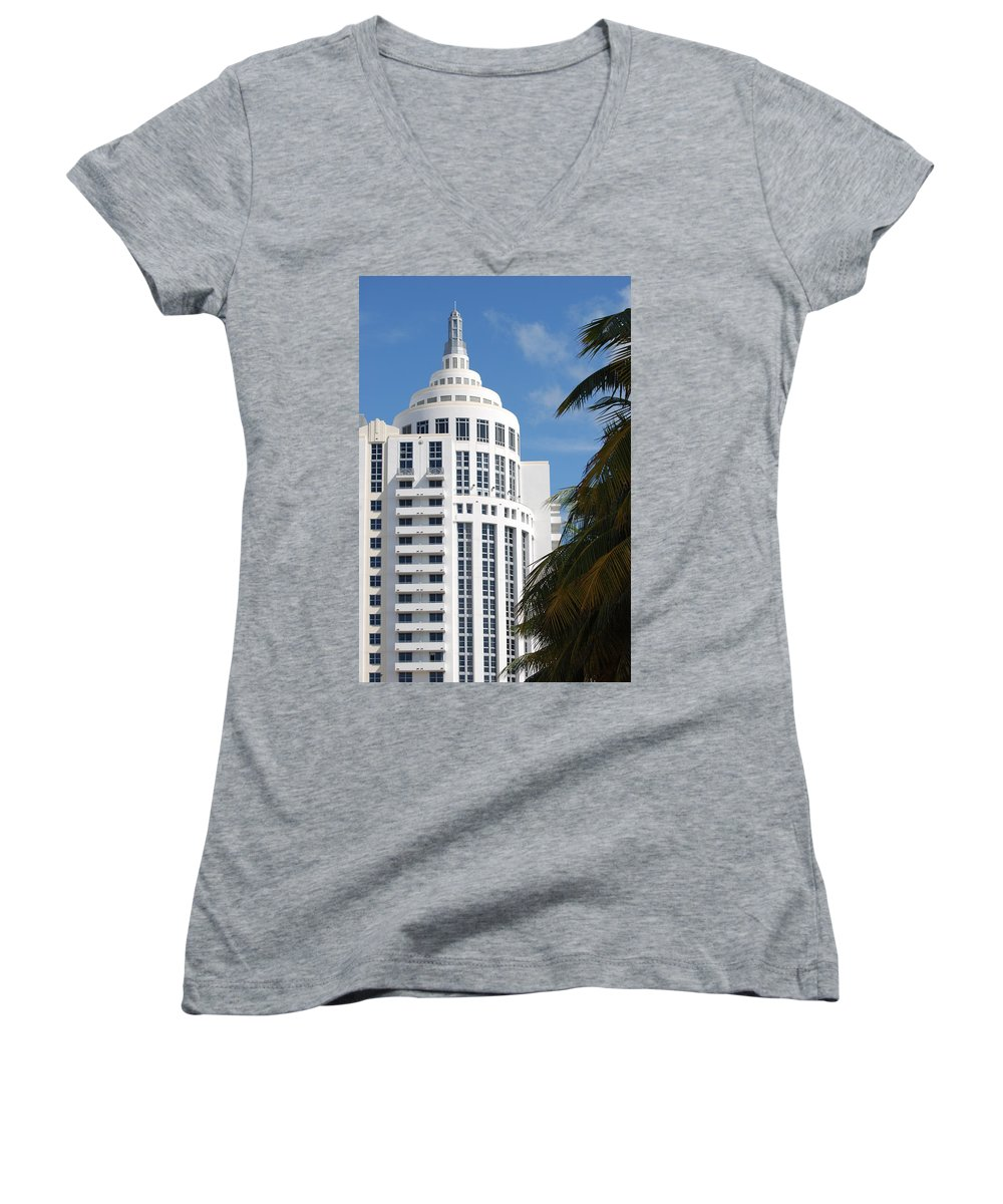 Architecture Women's V-Neck T-Shirt featuring the photograph Miami S Capitol Building by Rob Hans
