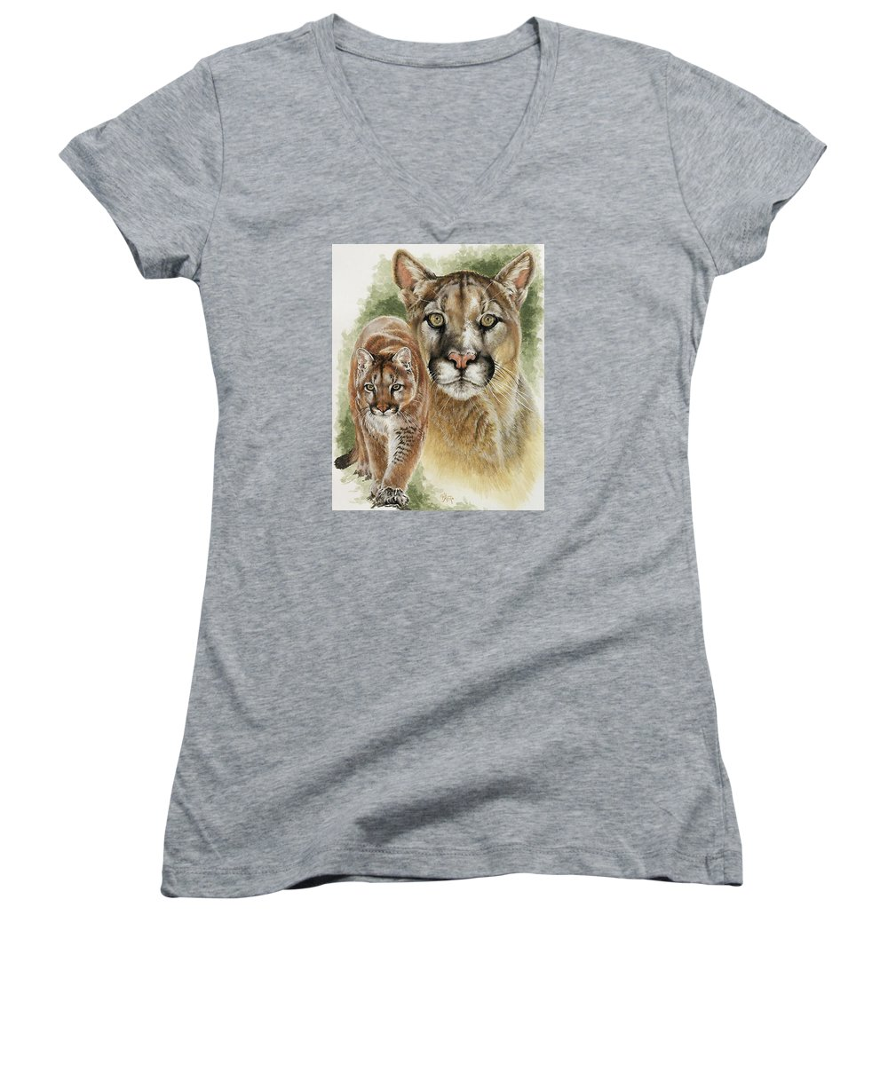 Cougar Women's V-Neck T-Shirt featuring the mixed media Mighty by Barbara Keith