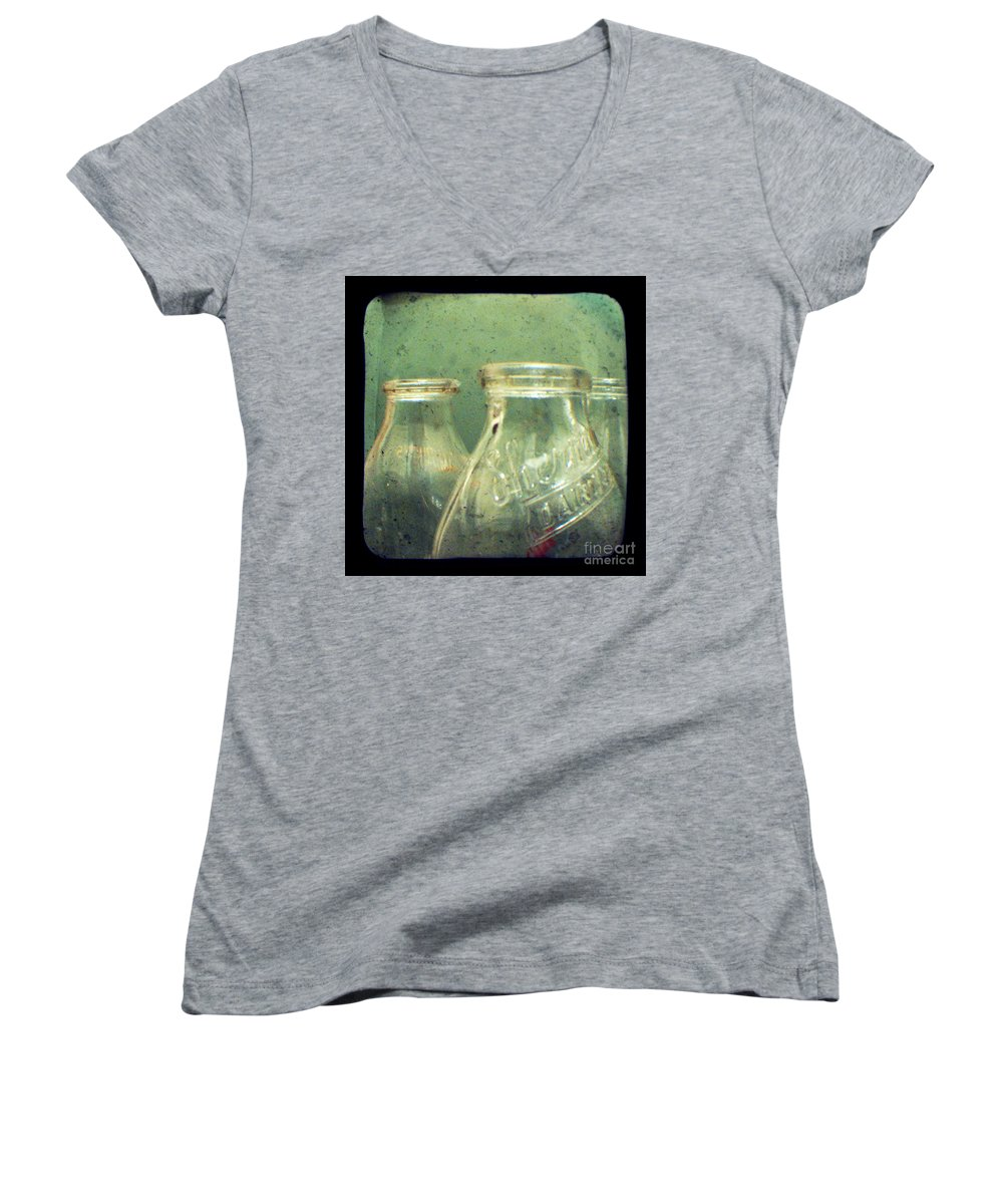 Ttv Women's V-Neck T-Shirt featuring the photograph Milk Bottles by Dana DiPasquale