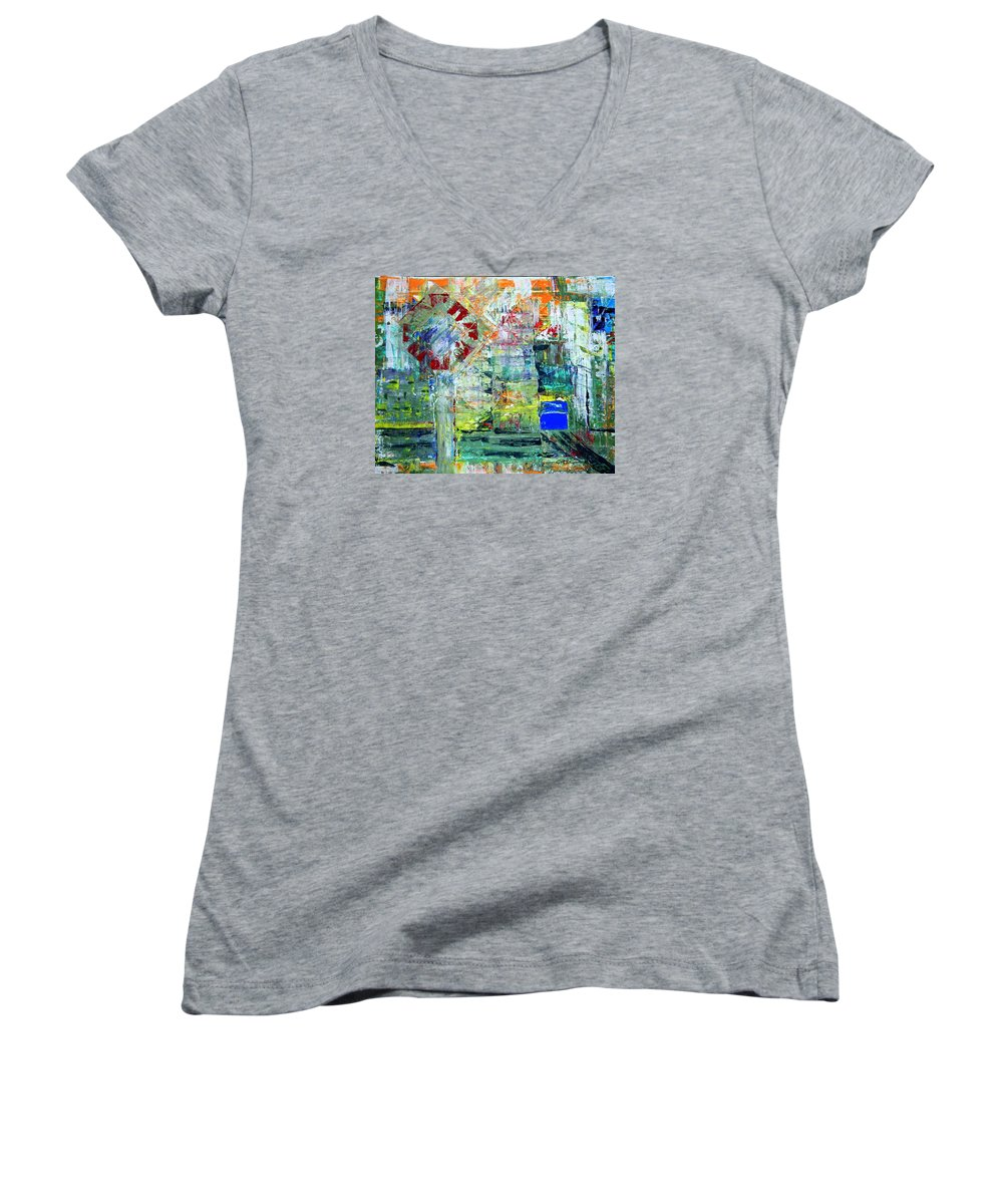 Abstract Women's V-Neck T-Shirt featuring the painting Milton Place by J R Seymour