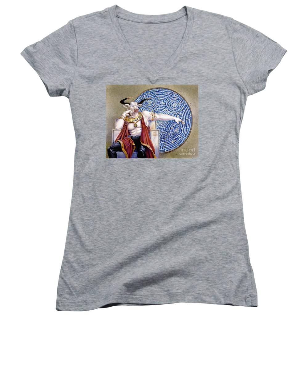 Anthropomorphic Women's V-Neck (Athletic Fit) featuring the painting Minotaur With Mosaic by Melissa A Benson