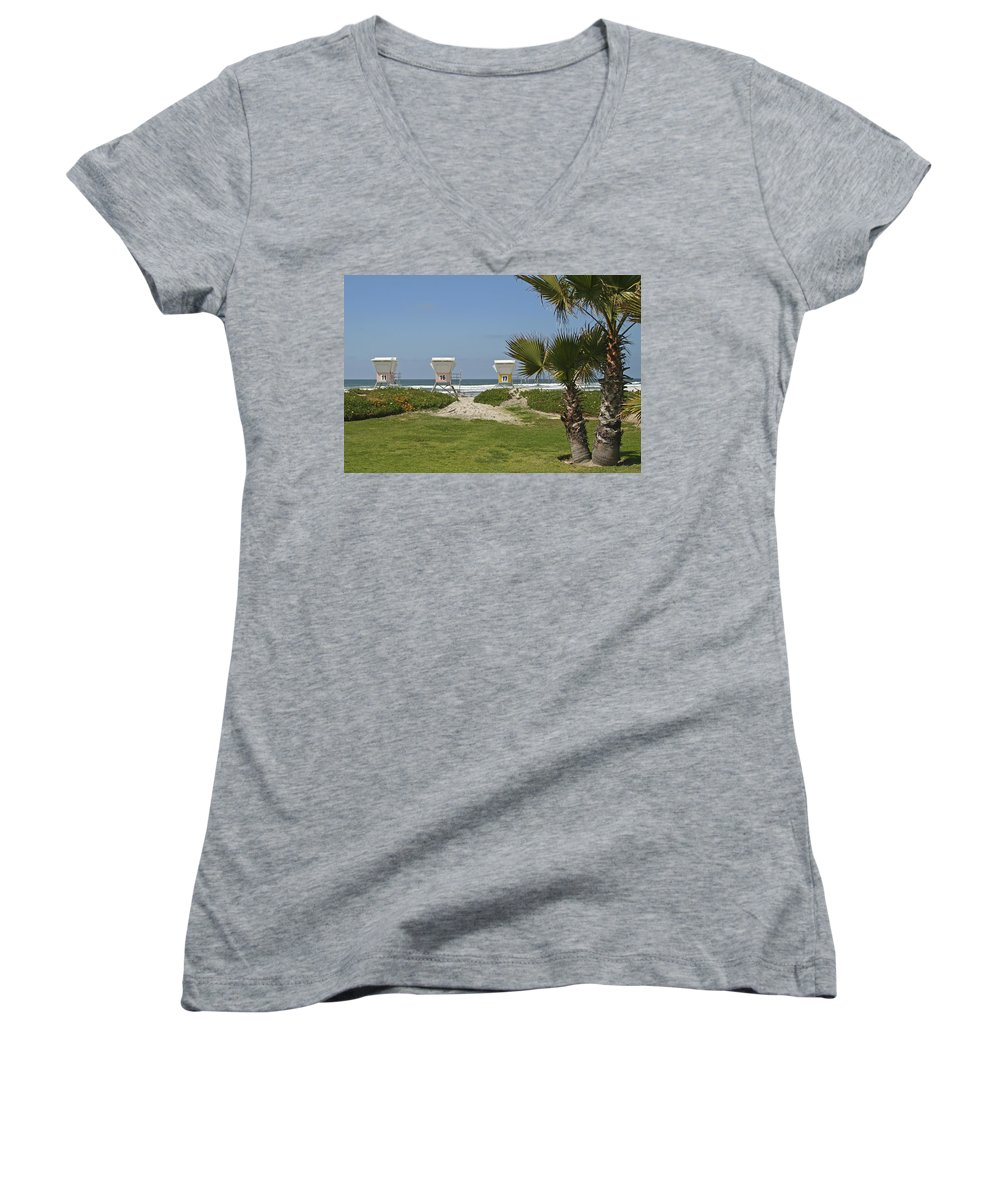 Beach Women's V-Neck (Athletic Fit) featuring the photograph Mission Beach Shelters by Margie Wildblood