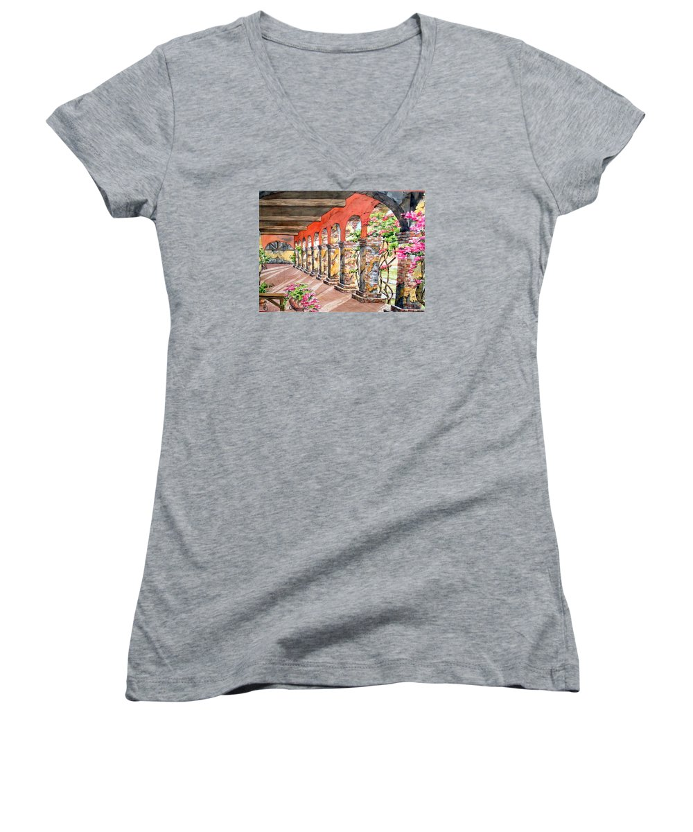 Landscape Women's V-Neck (Athletic Fit) featuring the painting Monasterio by Tatiana Escobar