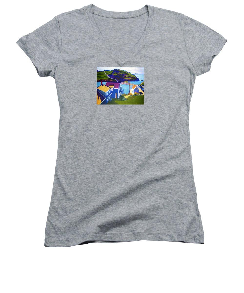 Seascape Women's V-Neck T-Shirt featuring the painting Monhegan Harbor by Debra Bretton Robinson