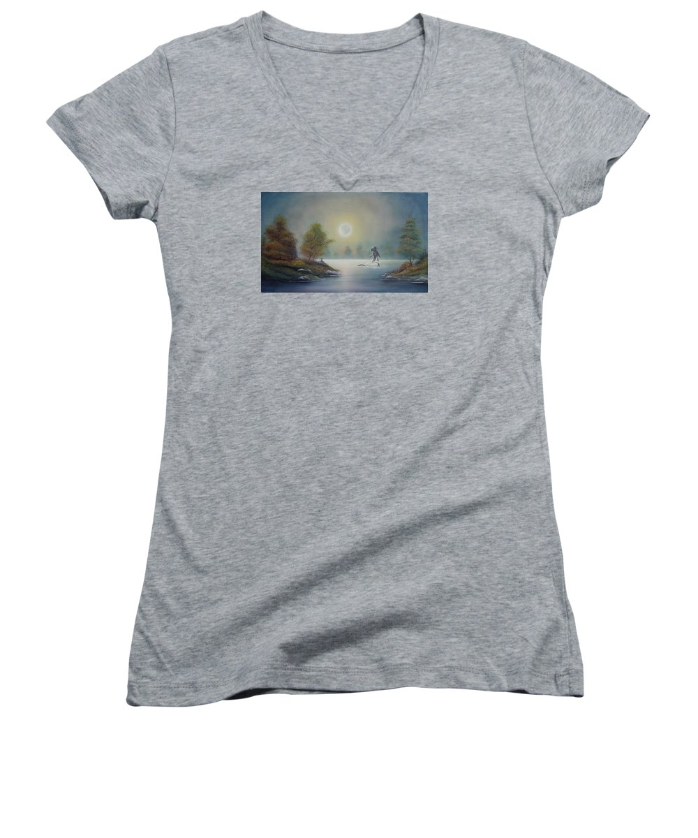 Landscape Women's V-Neck T-Shirt featuring the painting Monstruo Ness by Angel Ortiz