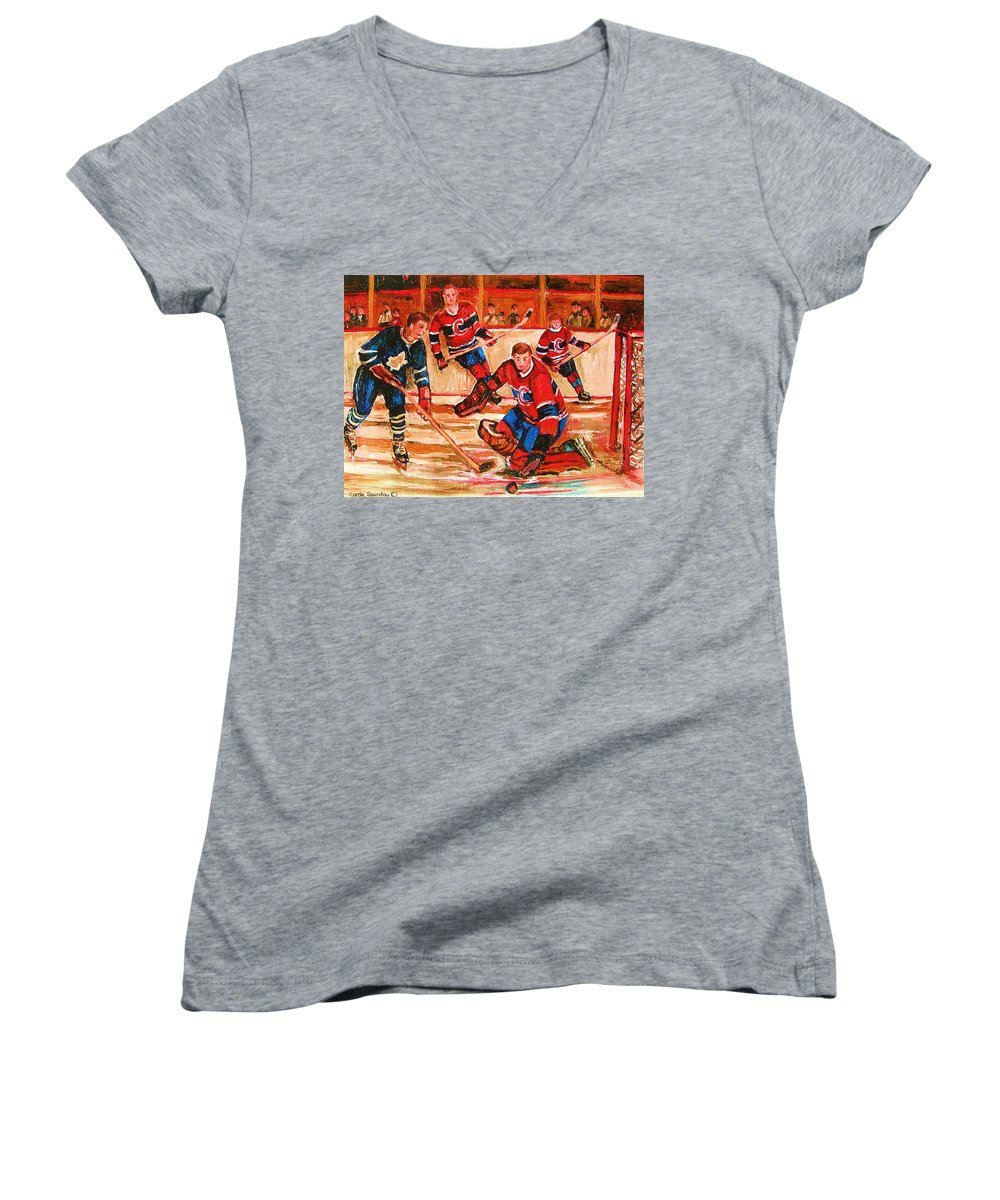 Montreal Forum Hockey Women's V-Neck T-Shirt featuring the painting Montreal Forum Hockey Game by Carole Spandau