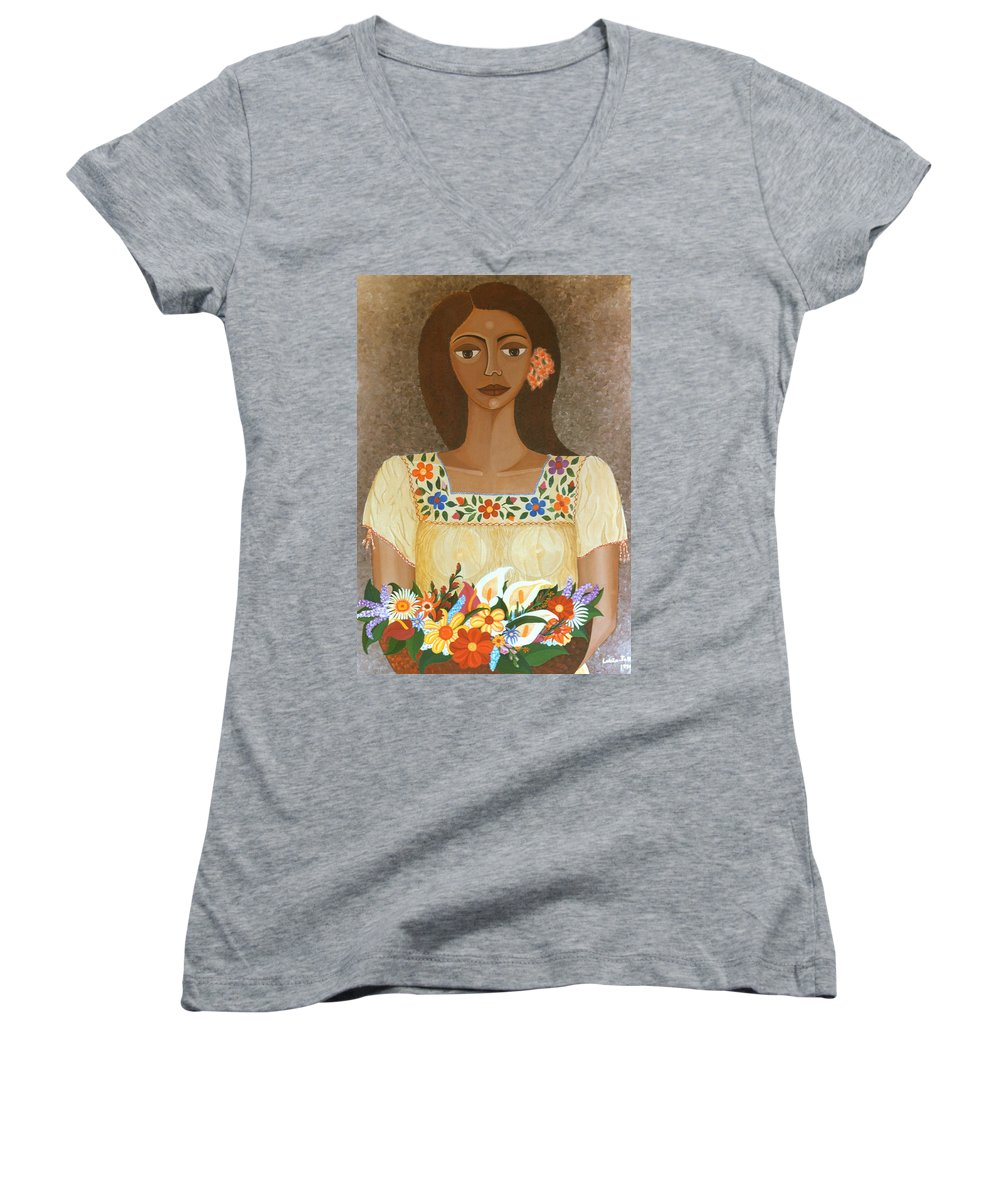 Oil Women's V-Neck T-Shirt featuring the painting More Than Flowers She Sold Illusions by Madalena Lobao-Tello