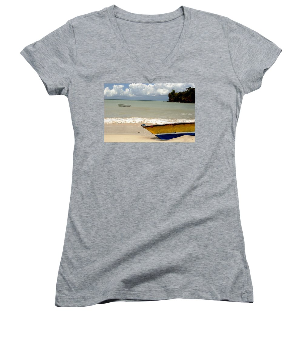 Boat Women's V-Neck T-Shirt featuring the photograph Morne Rouge Boats by Jean Macaluso