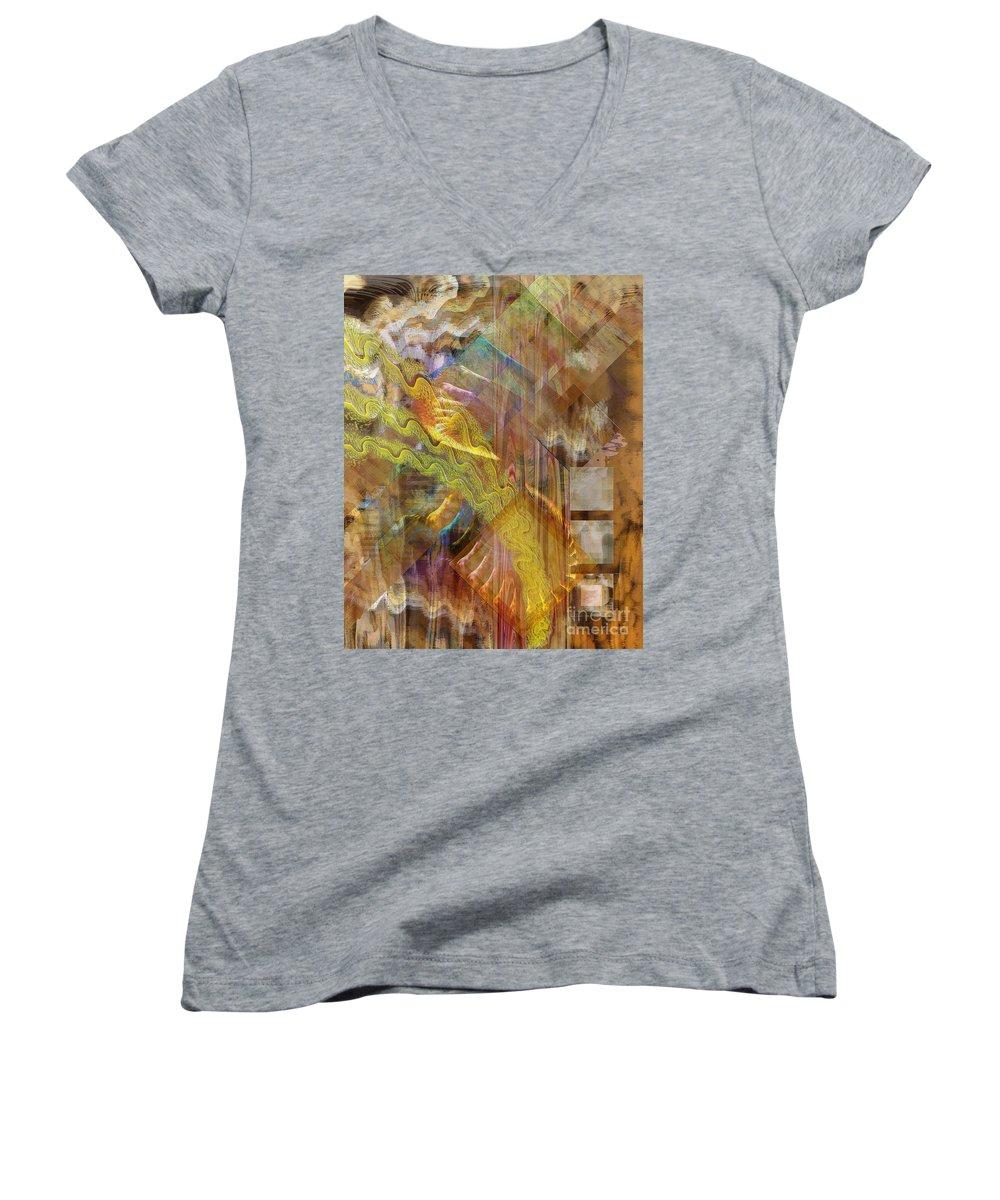 Morning Dance Women's V-Neck T-Shirt featuring the digital art Morning Dance by John Beck