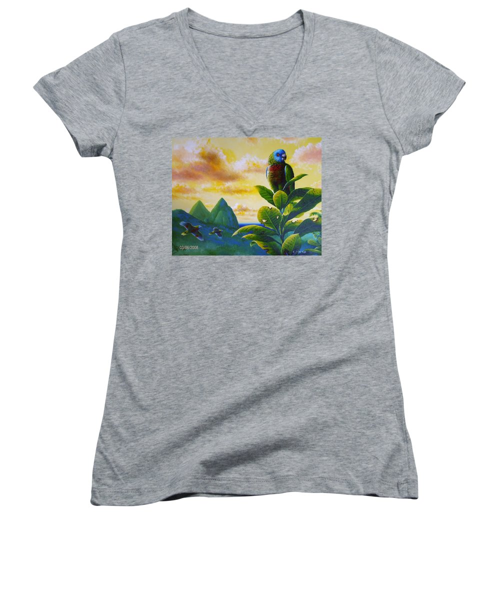 Chris Cox Women's V-Neck T-Shirt featuring the painting Morning Glory - St. Lucia Parrots by Christopher Cox
