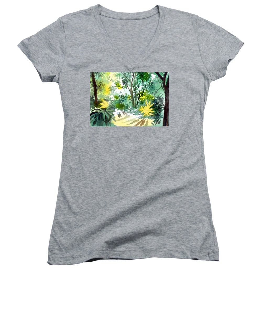 Landscape Women's V-Neck (Athletic Fit) featuring the painting Morning Glory by Anil Nene