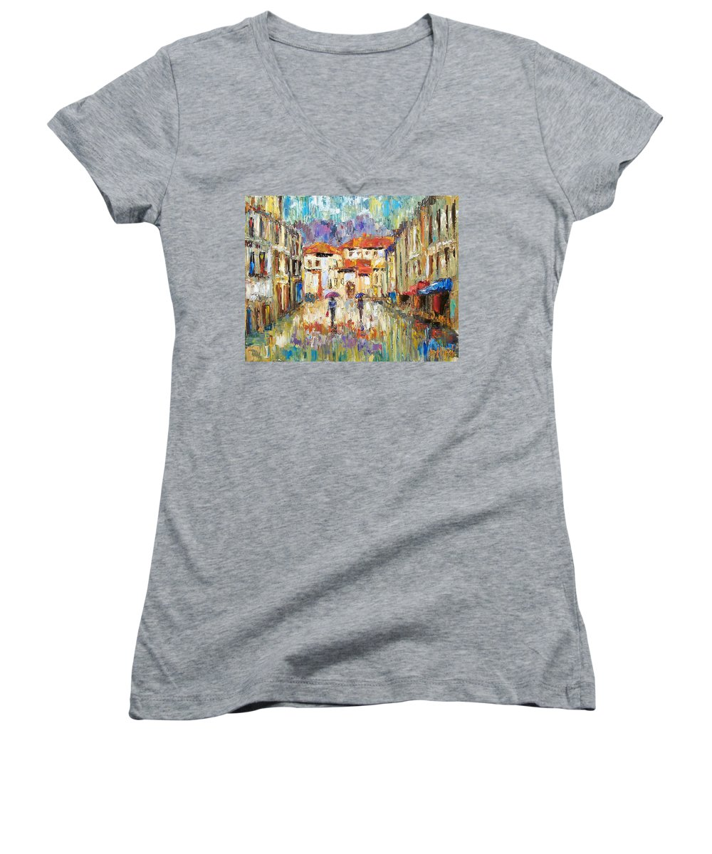 Landscape Women's V-Neck T-Shirt featuring the painting Morning Rain by Debra Hurd