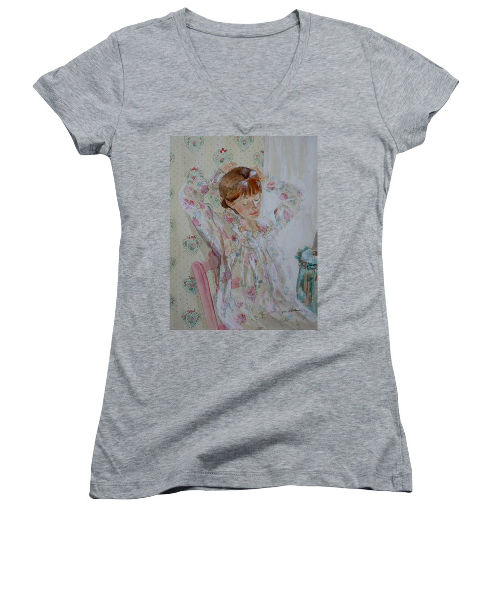 Morning Women's V-Neck (Athletic Fit) featuring the painting Morning Ritual by Jean Blackmer