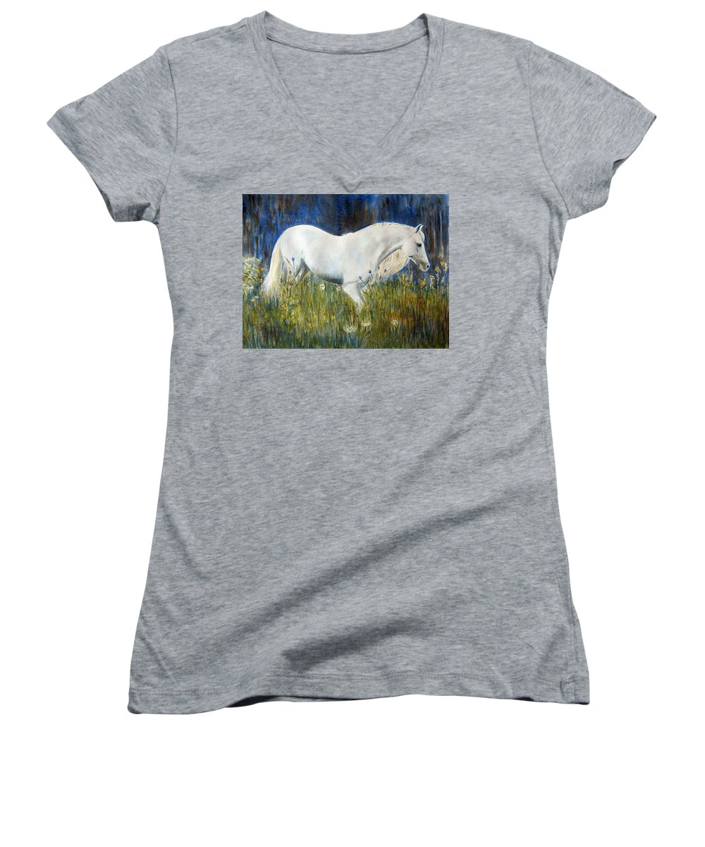 Horse Painting Women's V-Neck (Athletic Fit) featuring the painting Morning Walk by Frances Gillotti