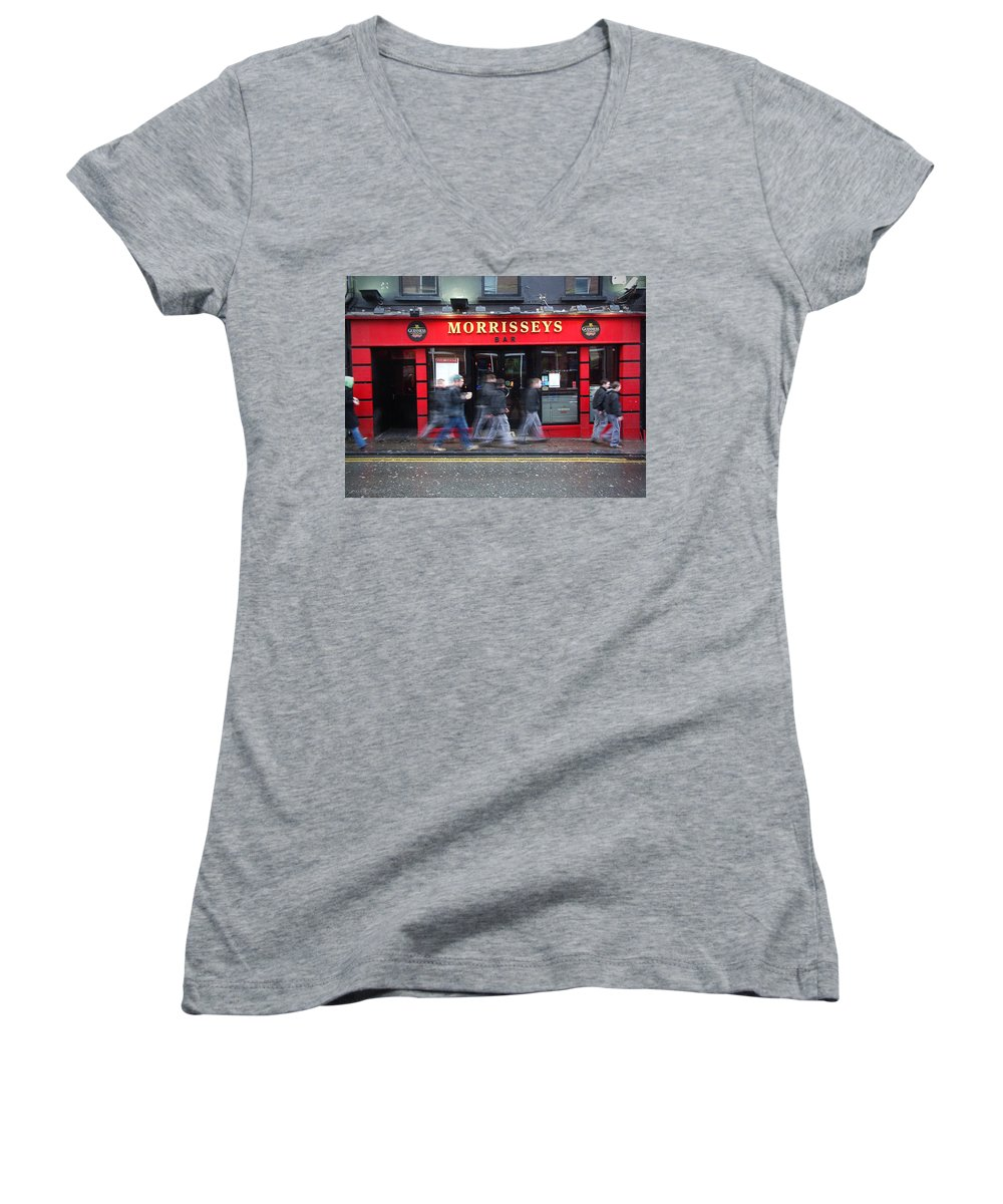 Pub Women's V-Neck T-Shirt featuring the photograph Morrissey by Tim Nyberg