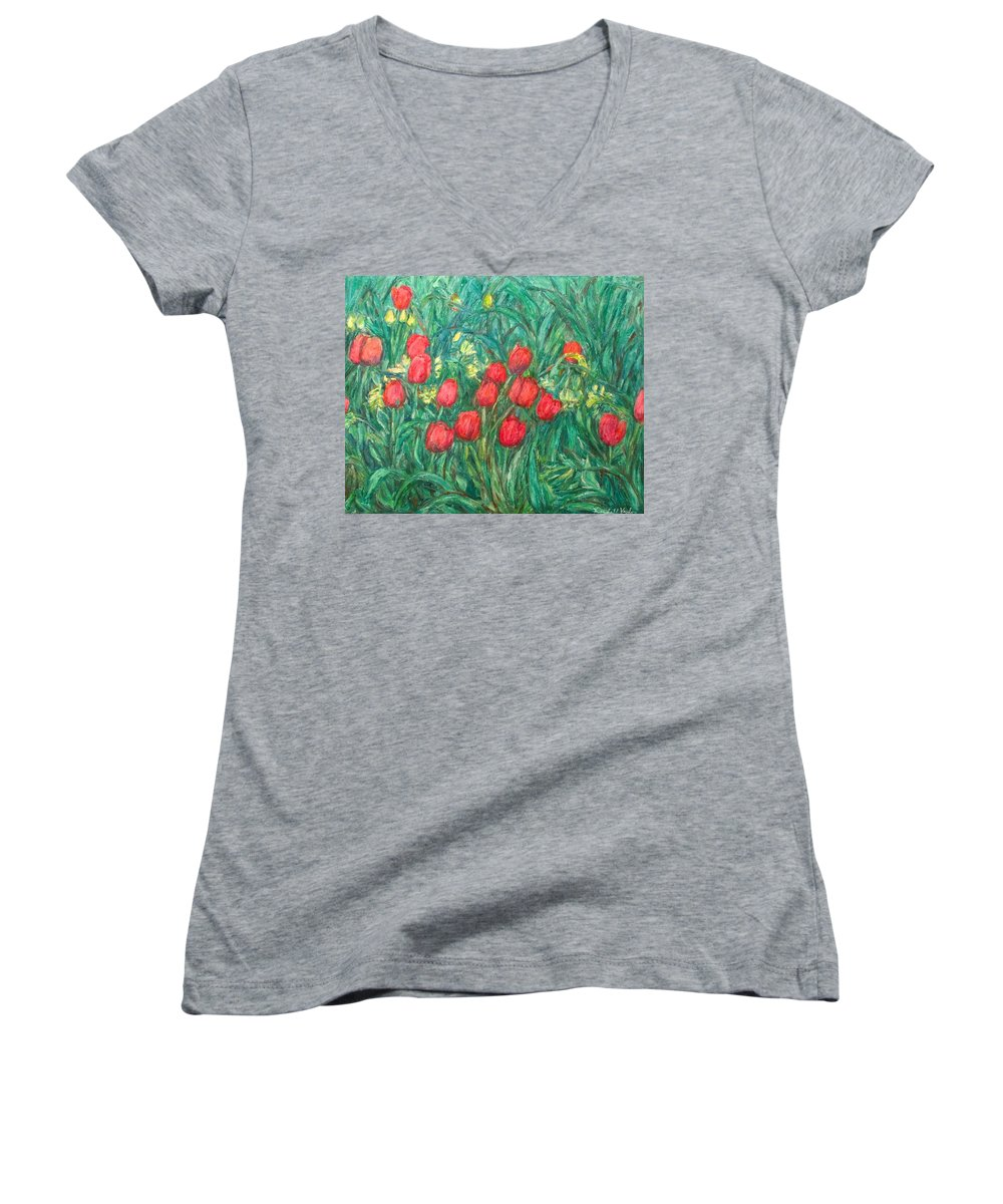 Kendall Kessler Women's V-Neck T-Shirt featuring the painting Mostly Tulips by Kendall Kessler