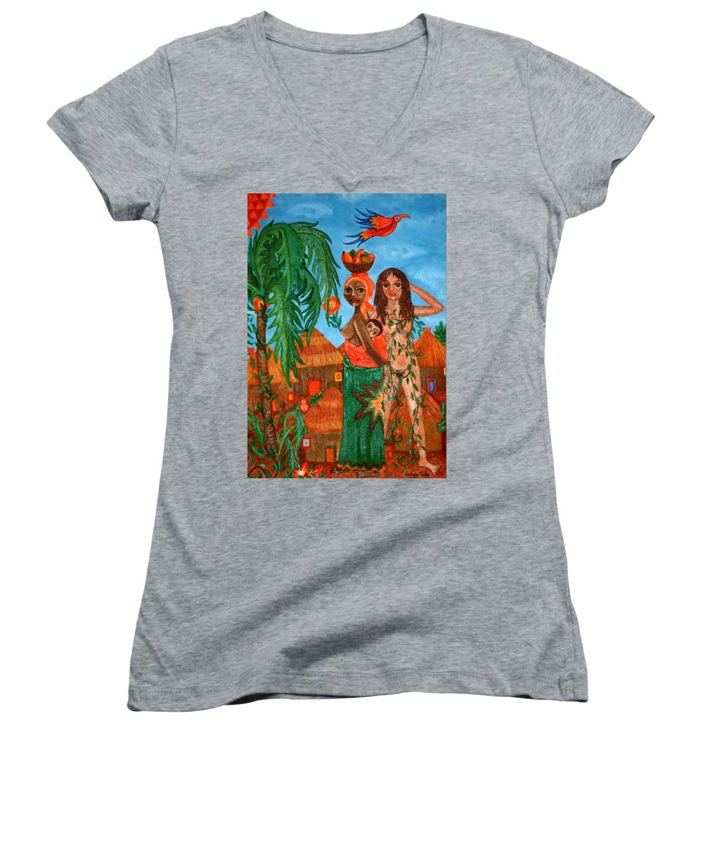 Mother Women's V-Neck (Athletic Fit) featuring the painting Mother Black Mother White by Madalena Lobao-Tello