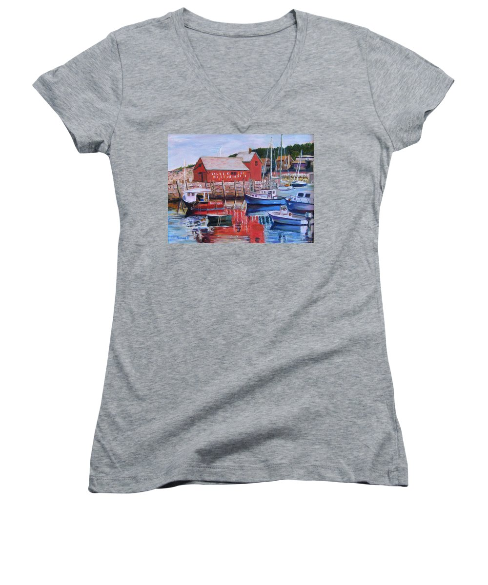 Rockport Women's V-Neck T-Shirt featuring the painting Motif Number One by Richard Nowak