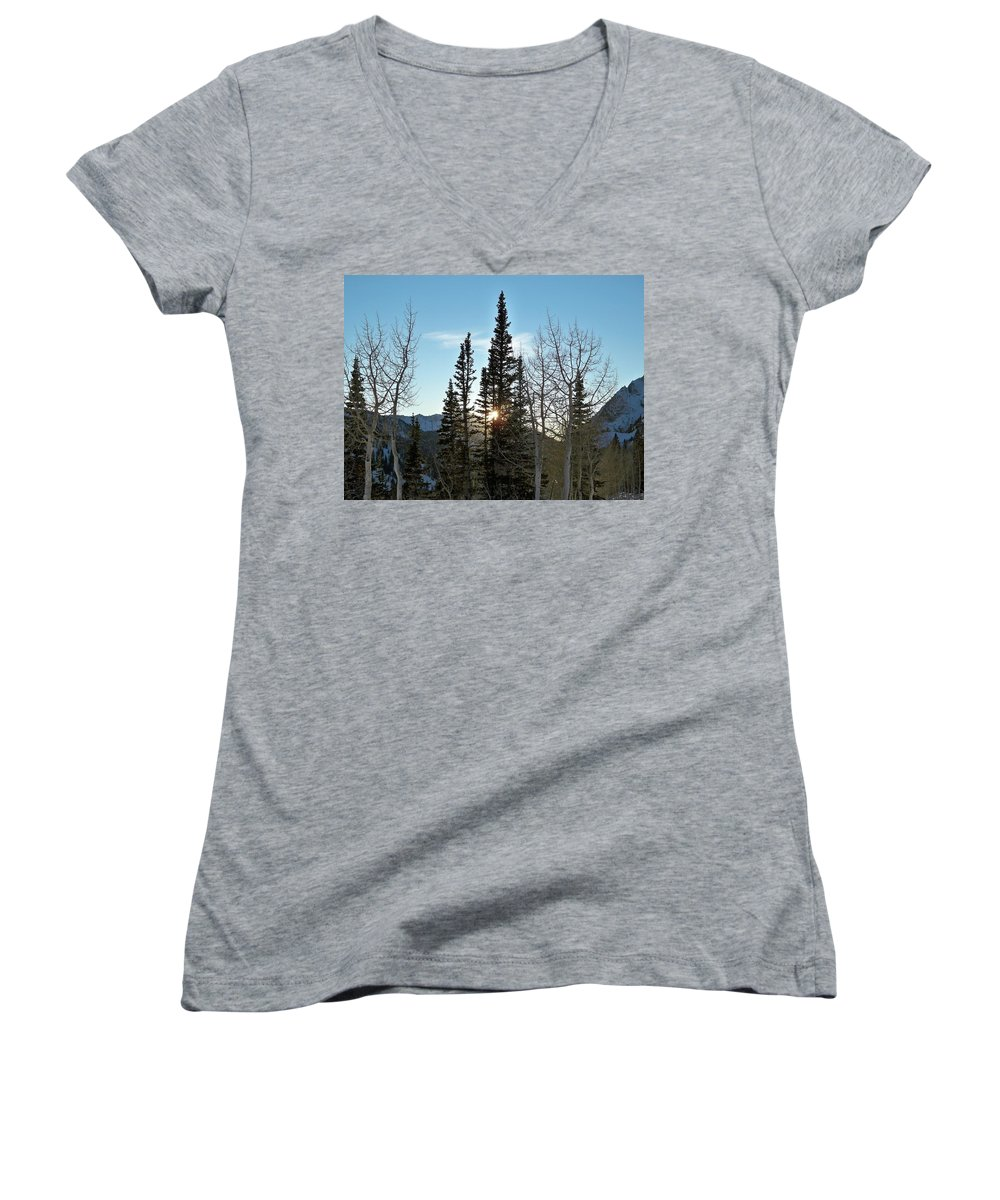 Rural Women's V-Neck T-Shirt featuring the photograph Mountain Sunset by Michael Cuozzo