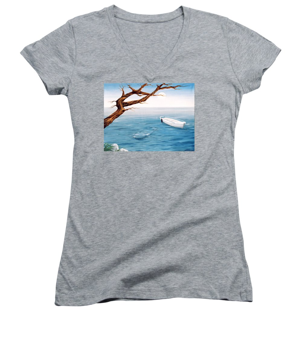 Seascape Prints Women's V-Neck T-Shirt featuring the painting Mourning Spring by Mark Cawood