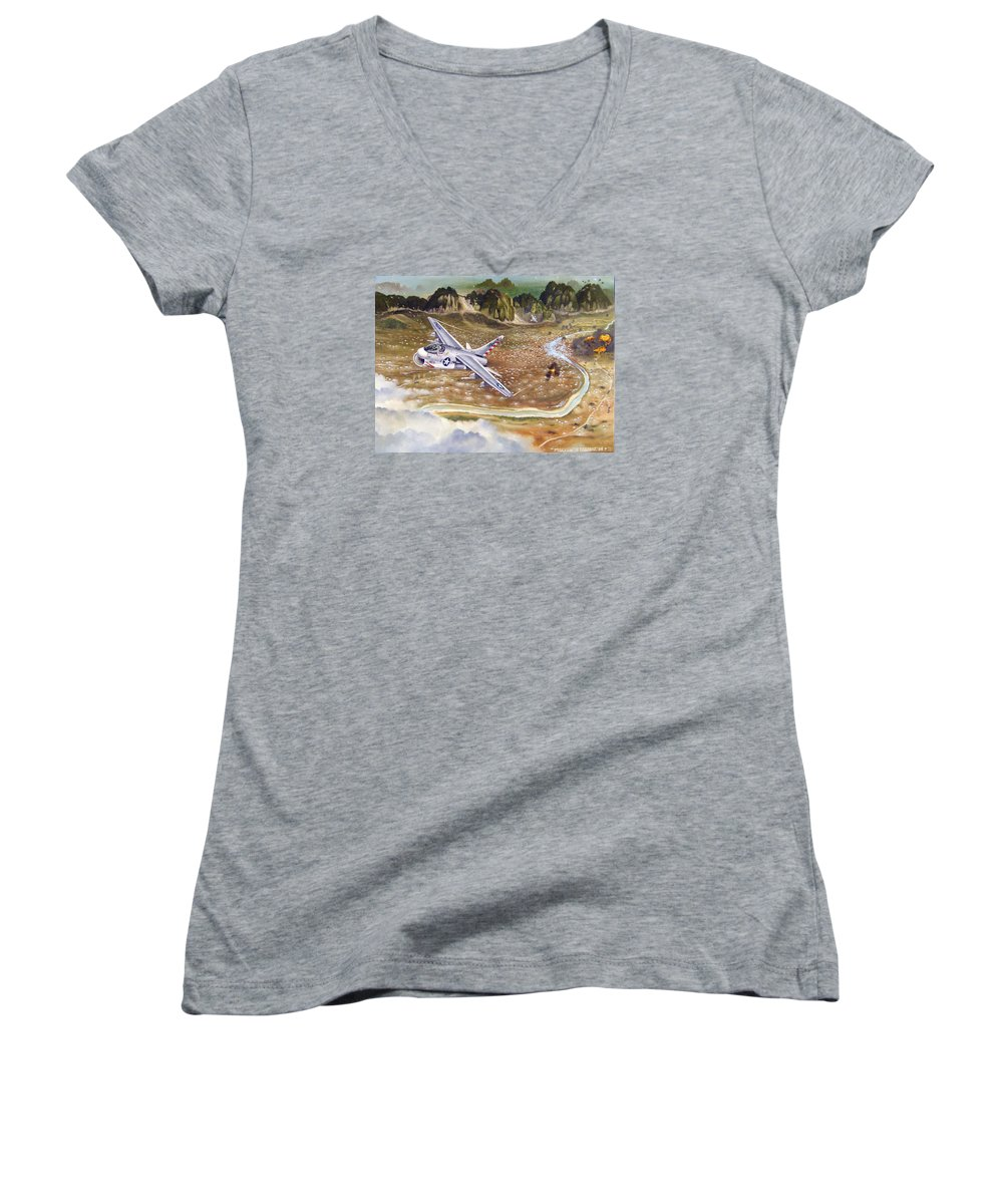 Aviation Women's V-Neck (Athletic Fit) featuring the painting Mu Gia Mayhem by Marc Stewart