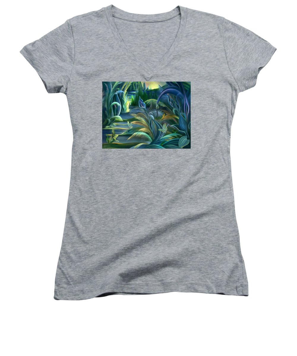 Mural Women's V-Neck T-Shirt featuring the painting Mural Insects Of Enchanted Stream by Nancy Griswold