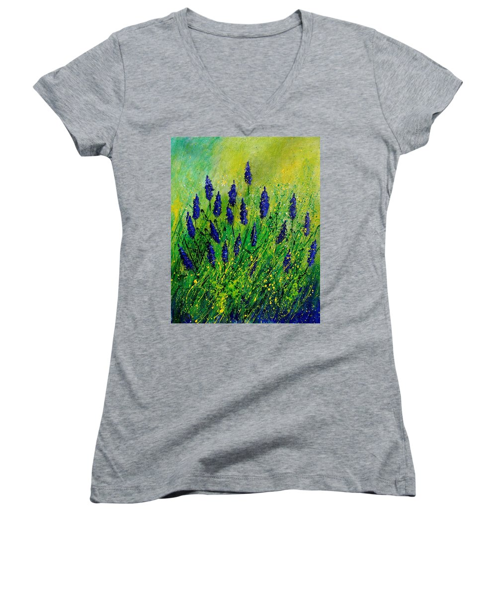 Flowers Women's V-Neck T-Shirt featuring the painting Muscaris 4590 by Pol Ledent