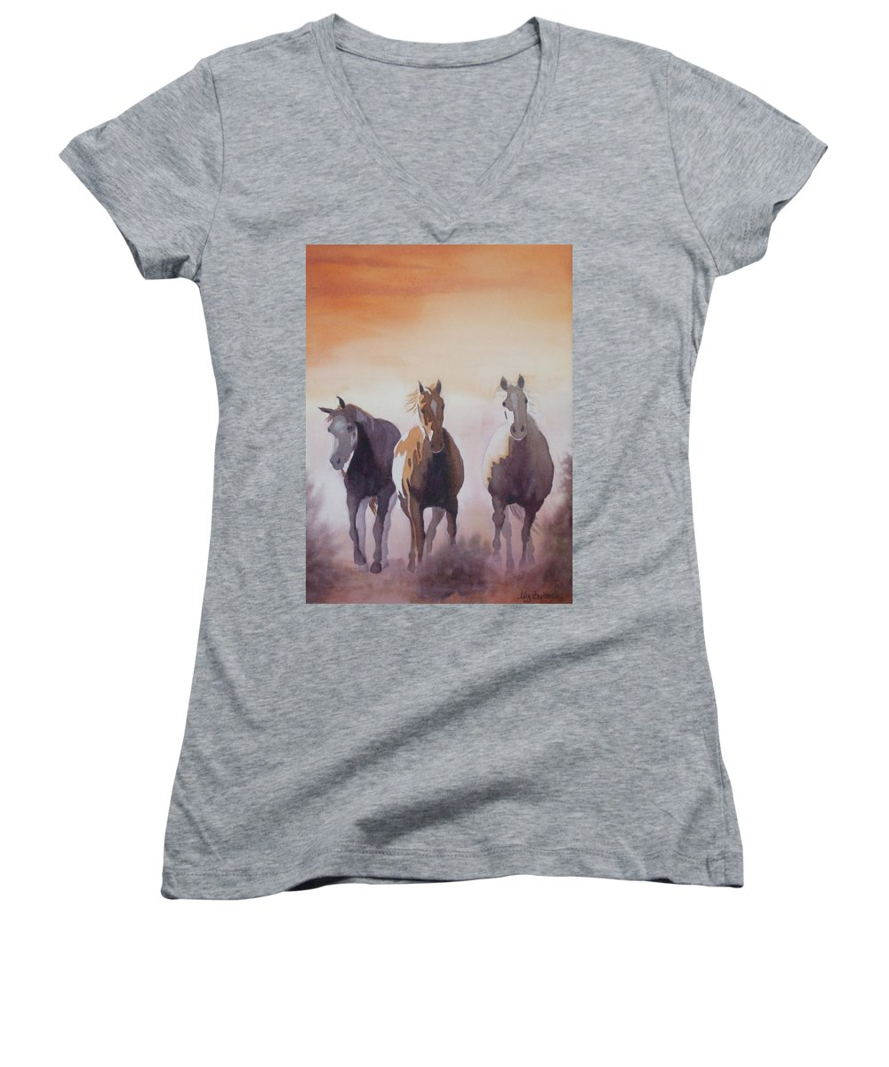 Horse Women's V-Neck T-Shirt featuring the painting Mustangs Out Of The Fire by Ally Benbrook