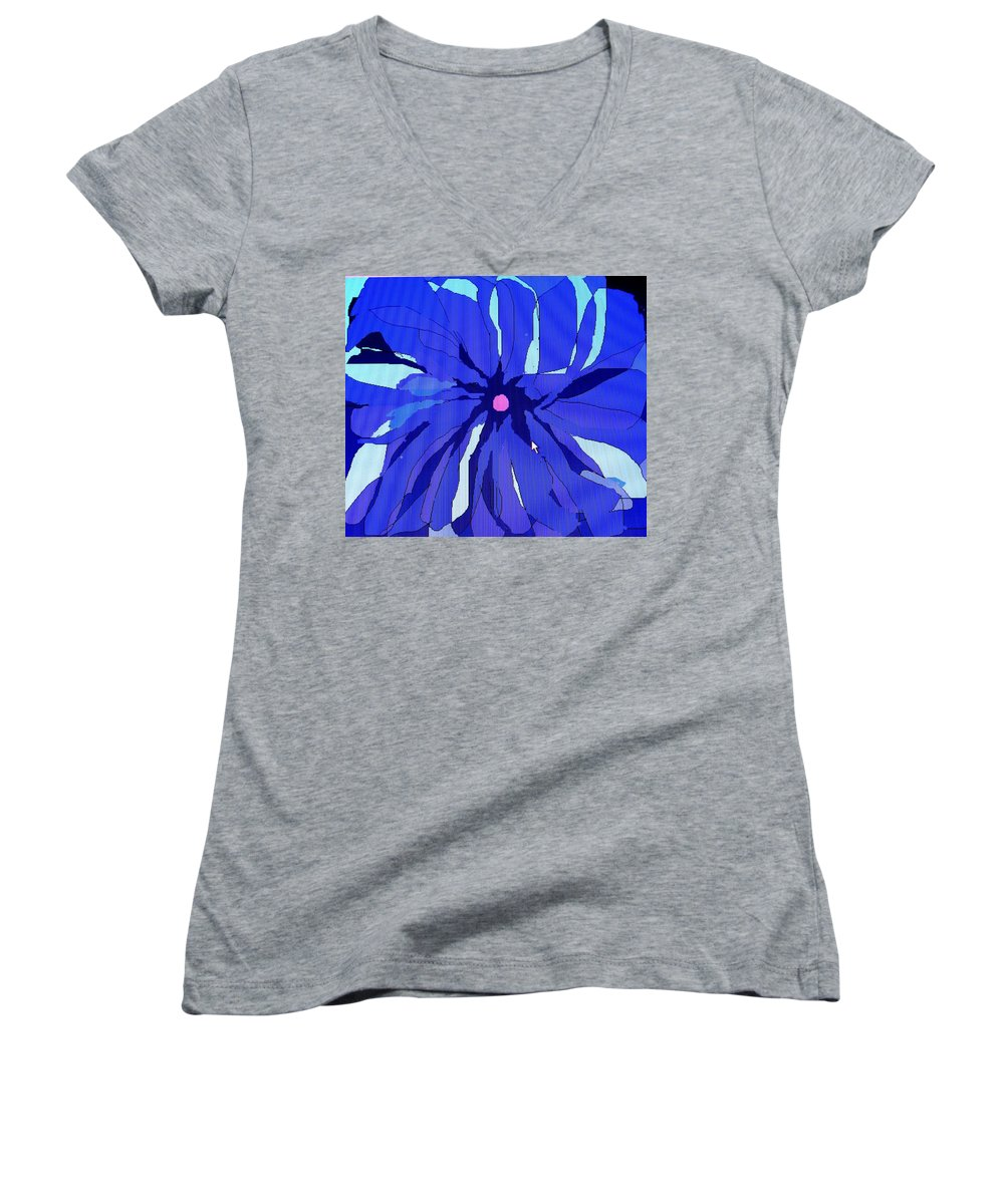 Flower Women's V-Neck T-Shirt featuring the digital art My Fantastic Flower by Ian MacDonald