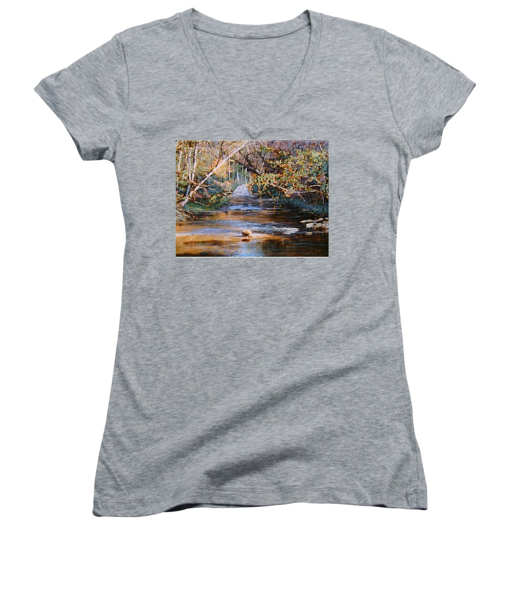 Peace Project Women's V-Neck (Athletic Fit) featuring the painting My Secret Place by Ben Kiger
