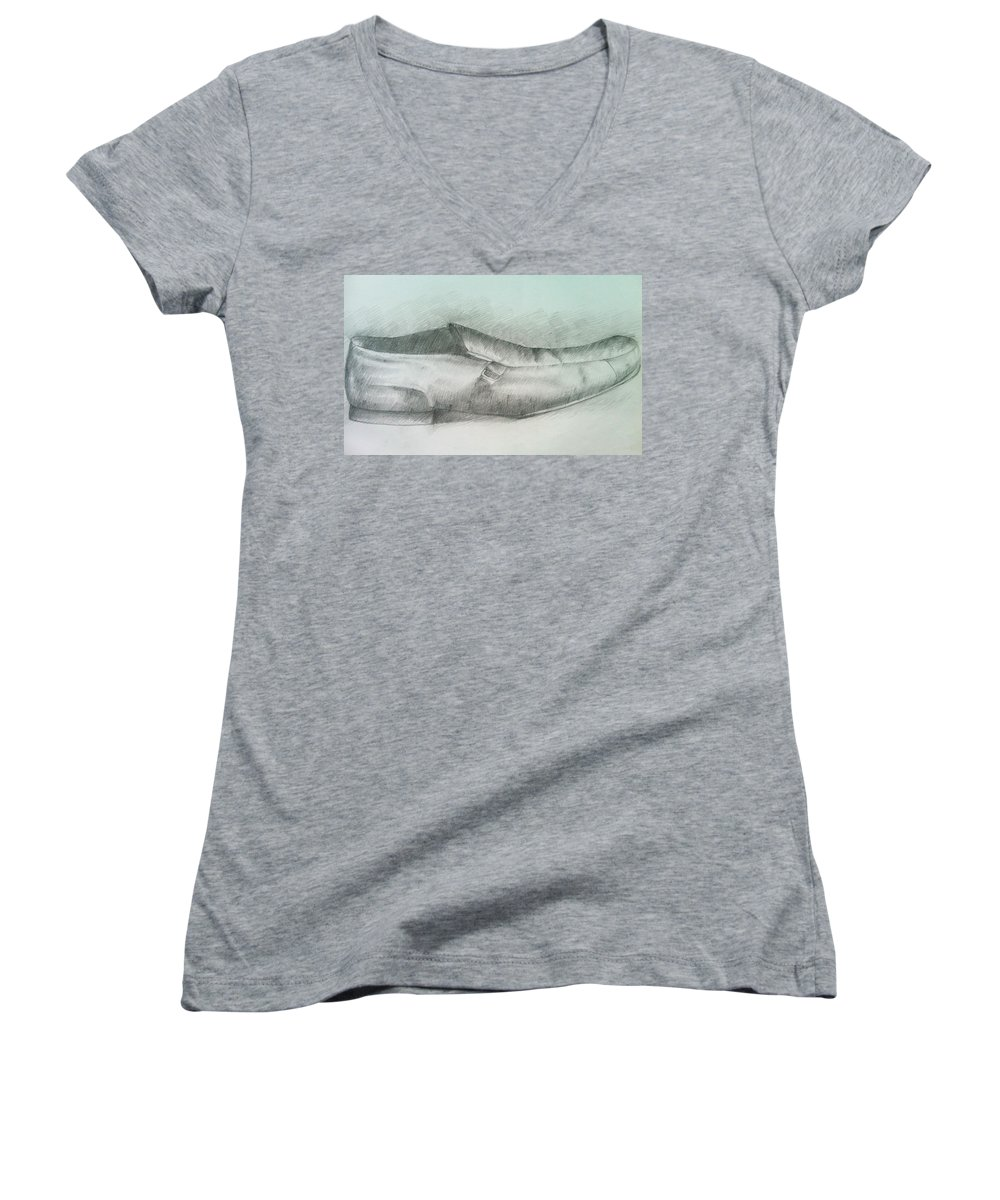 Drawings Women's V-Neck (Athletic Fit) featuring the drawing My Shoe by Olaoluwa Smith