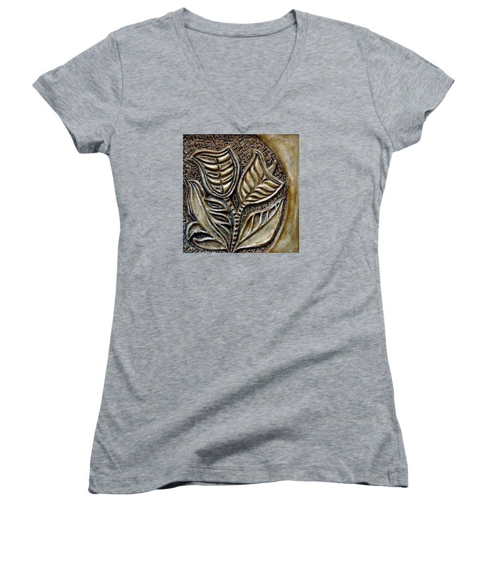 Vintaje Women's V-Neck T-Shirt featuring the relief Vintaje Tile With Calas by Madalena Lobao-Tello