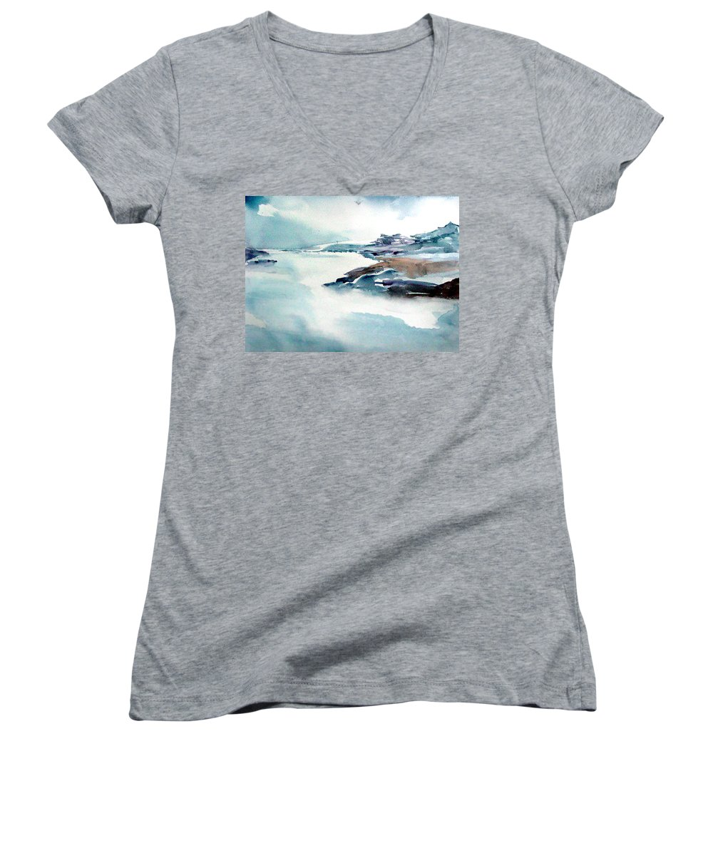 River Women's V-Neck (Athletic Fit) featuring the painting Mystic River by Anil Nene