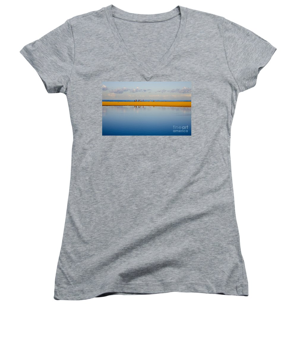 Dunes Lowry Sand Sky Reflection Sun Lifestyle Narrabeen Australia Women's V-Neck (Athletic Fit) featuring the photograph Narrabeen Dunes by Sheila Smart Fine Art Photography