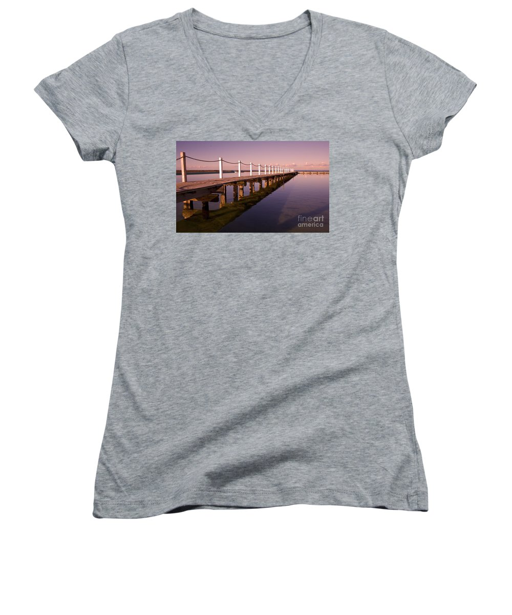Narrabeen Sydney Sunrise Wharf Walkway Women's V-Neck (Athletic Fit) featuring the photograph Narrabeen Sunrise by Sheila Smart Fine Art Photography
