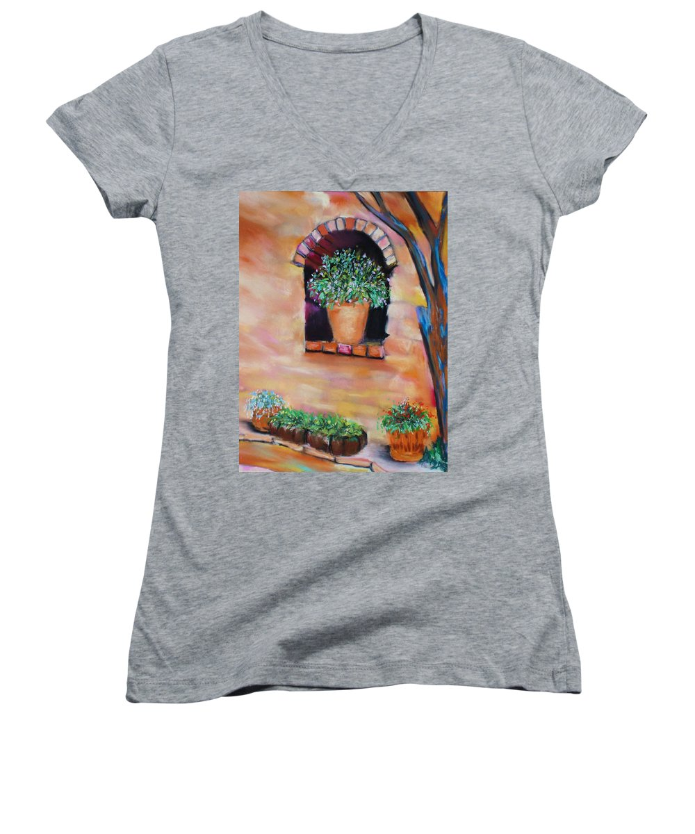 Courtyard Women's V-Neck (Athletic Fit) featuring the painting Nash's Courtyard by Melinda Etzold