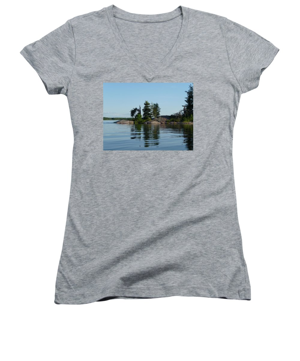 Lake Women's V-Neck (Athletic Fit) featuring the photograph Natural Breakwater by Ruth Kamenev